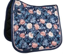 HKM SADDLE PAD- FLOWER POWER - NAVY APRICOT - RRP £39.99